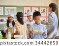 小學生 學校午餐 設定位置或桌子 34442659