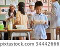 小學生 學校午餐 設定位置或桌子 34442666