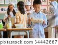 小學生 學校午餐 設定位置或桌子 34442667