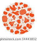 autumn seasonal fruits and vegetables in circle 34443832