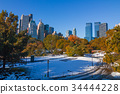 central park, skyscraper, autumnal 34444228
