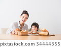 兒童和媽媽烤麵包 34444355