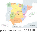 Autonomous communities of Spain political map 34444486