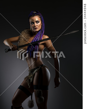 240e4ae1fb2 Horsewoman with African braids in sexy underwear - Stock Photo ...