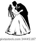 silhouette wedding couple 34445187