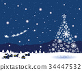 santum, snowy, christmas tree 34447532