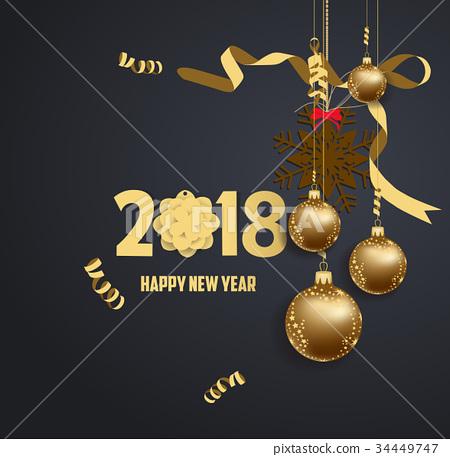 New year 2018 balls collors christmas balls 2018 34449747