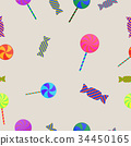 Halloween lollipop and toffee seamless pattern 34450165