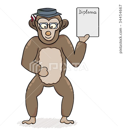clever monkey with diploma 34454667