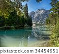 Braies Lake and Mount Croda del Becco 34454951