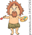 Man Caveman Painter Illustration 34457263