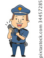 Man Policeman Phone Call 911 Illustration 34457285
