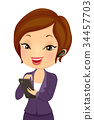 Girl Business Checking Notes Mobile Illustration 34457703