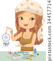 Girl Craft Dream Catcher Illustration 34457714