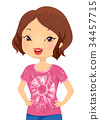 Girl Craft Dyed Shirt Illustration 34457715