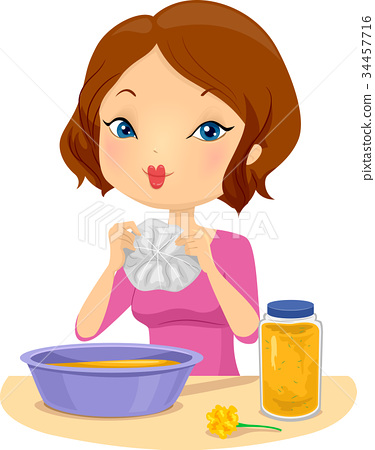 Girl Crafts Dye Shirt Illustration 34457716