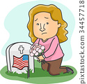 Girl Grave Memorial Day Flowers Illustration 34457718