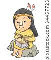 Girl Native American Basket Birch Bark  34457723