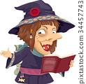 Girl Witch Story Telling Book Illustration 34457743