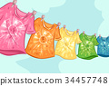 Craft Dyed Shirt Clothesline Illustration 34457748