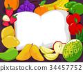 Fruits Open Book Illustration 34457752