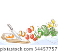 Kitchen Knife Chopping Board Illustration 34457757