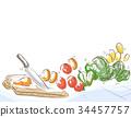 Kitchen Knife Chopping Board Illustration 34457757