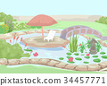 Water Garden Bridge Illustration 34457771