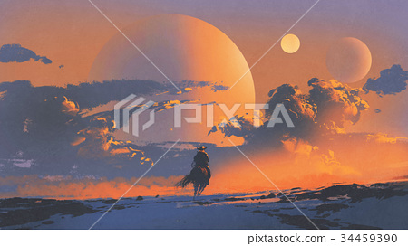 cowboy riding a horse against sunset sky 34459390
