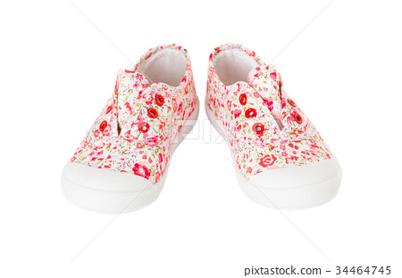 Baby girl pink sneakers with floral pattern. 34464745