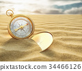 Compass on sea sand. Travel destination 34466126