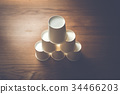 paper cup, pile, cup 34466203