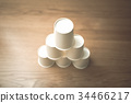 paper cup, pile, cup 34466217
