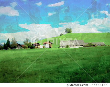 Watercolor Painting; A Spring Field 34468167