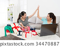 pretty happy women using computer online shopping 34470887