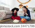 girl and her mother shocked to see many candies 34471786