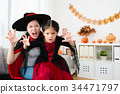 mother and her cute girl use horror face 34471797