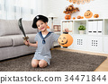 girl wear pirate costume and holding a lantern 34471844