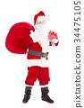 santa claus holding gift box and gift bag 34475105