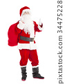 Santa Claus holding gift bag with thumb up 34475228