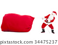 santa claus pulling a big gift  bag 34475237