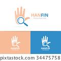 logo, hand, loupe 34475758