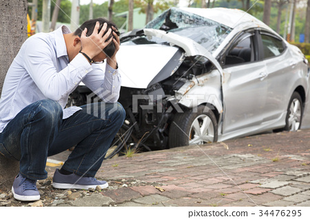 Upset driver After Traffic Accident 34476295