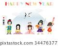 เทมเพลตการ์ดปีใหม่ซานทาโร่และเจ้าหญิงสองคน 34476377
