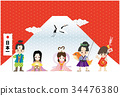 new year's card, new years card template, japanese folklore 34476380