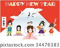新年賀卡 賀年片 新年賀卡模板 34476383