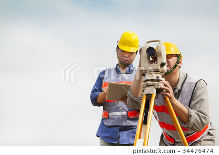 Surveyor engineer making measure with tablet pc 34476474