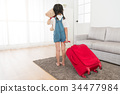 back view photo of attractive cute girl children 34477984