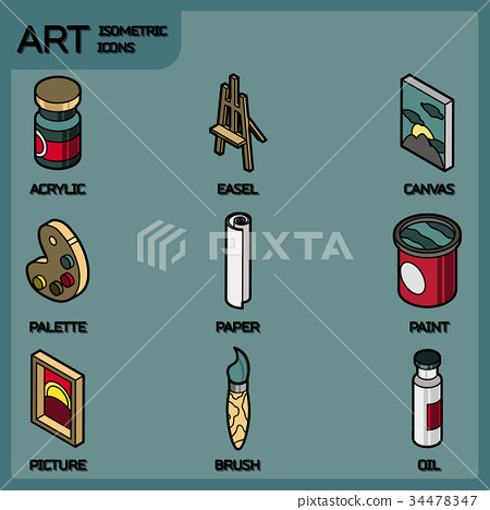 Art color outline isometric icons set 34478347