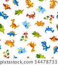 恐龍 可愛 樣式 34478733